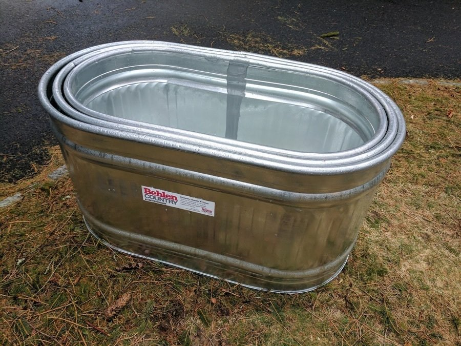 nested galvanized troughs